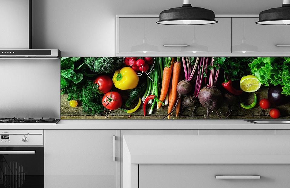 Скинали с рисунком овощи для кухни на заказ